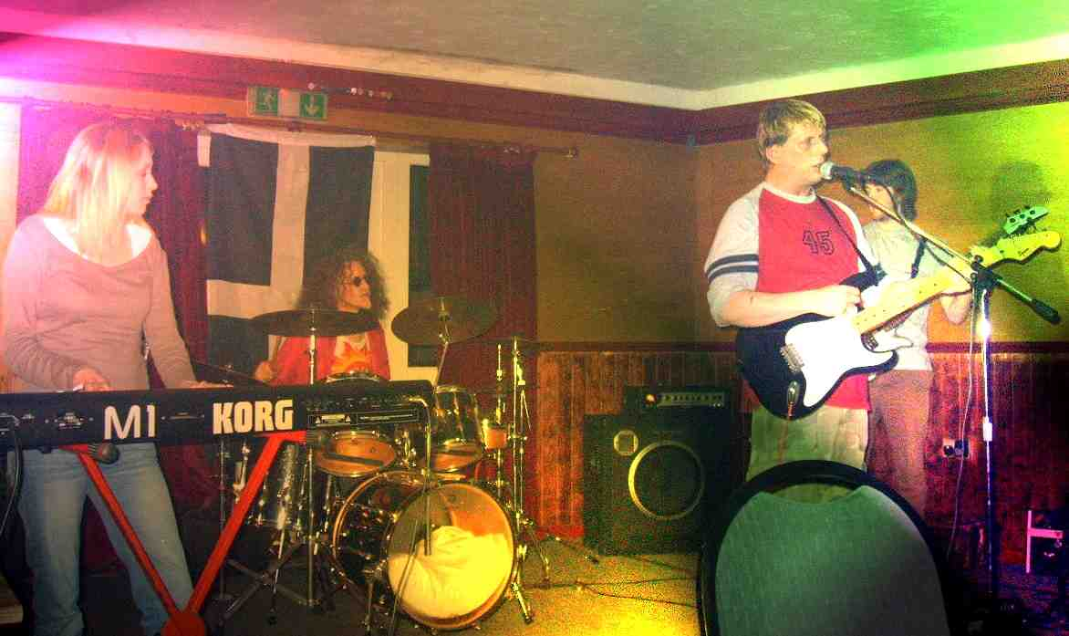 Sam Drumming with Driving Blind at a Gig in Nical's Bodmin